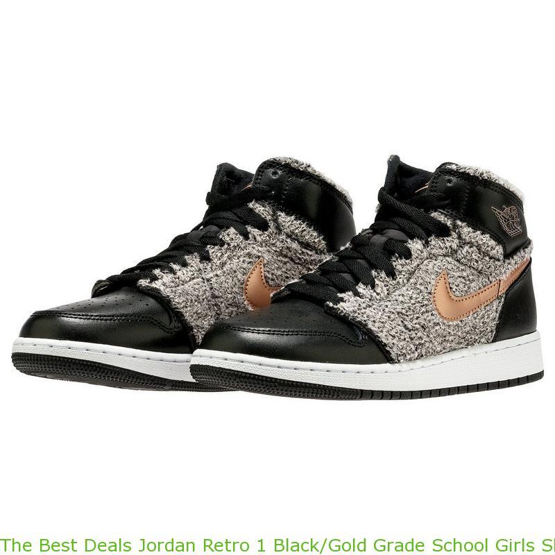 The Best Deals Jordan Retro 1 Black Gold Grade School Girls Shoe ... 35c6a58f1709